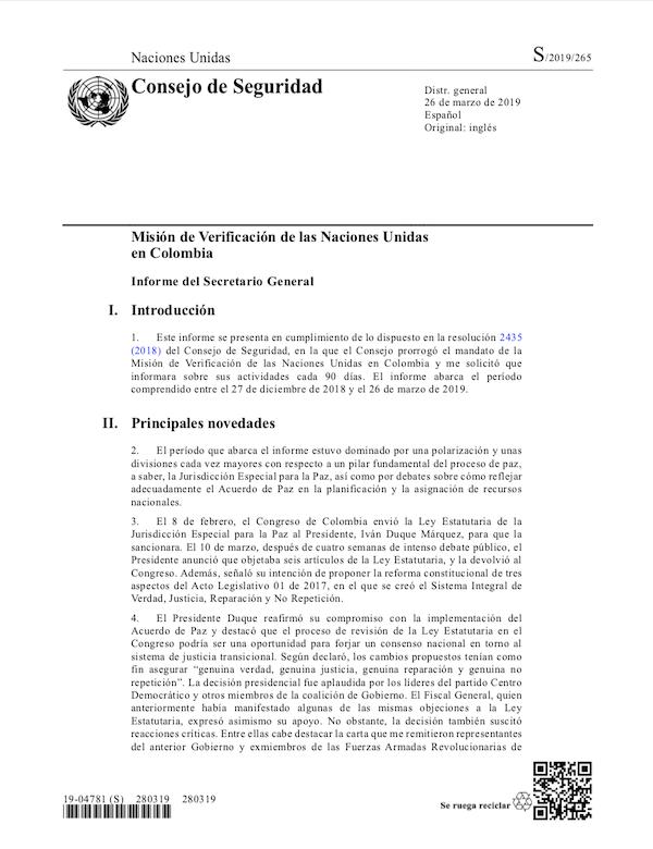 Portada de un informe sobre una misión en Colombia